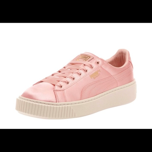 Puma Shoes | Pink Satin Sneakers | Poshmark